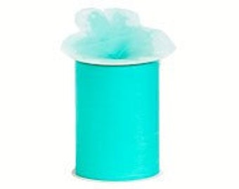 """6 inch x 100 yds  """"Import"""" Nylon Tulle Roll - AQUA-Fall Special only 5.99 roll"""