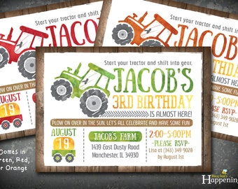 Tractor Birthday Invitation Farm Birthday Invitation Red Tractor Green Tractor Orange John Deere Inspired Busy bee's Happenings Digital File