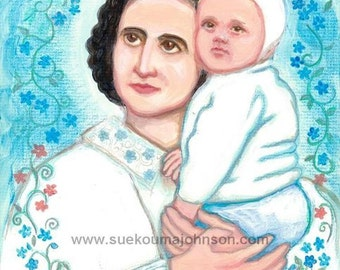 Mothers Day Gift - St. Gianna Molla - Patron of the Pro-Life Cause - Patron of Health Care Workers - Catholic Art Print
