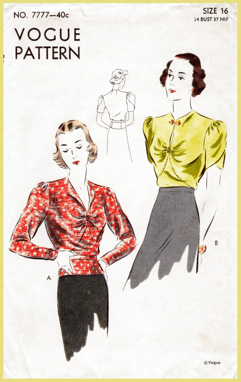Vintage Schnittmuster der 1930er Jahre 30er Jahre Bluse Muster
