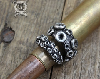 Monstrous Tentacle Ring - Handmade from Pewter - Octopus Tentacle Ring - Squid Tentacle Ring - Adjustable - Steampunk Cephalopod Doctorgus