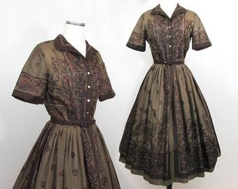 L'Aiglon brown border print dress - fit and flare  - brown print - 50s-60s - S
