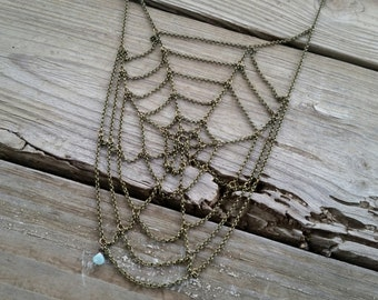spiral spiderweb necklace / chain spiderweb necklace / halloween jewelry / spider web necklace / halloween necklace / HEY02W