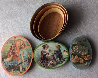 Lillian Vernon Set of 3 Wooden Oval Boxes 1980's