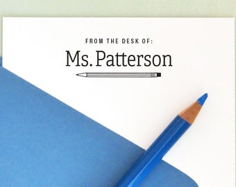 Back to School, Personalized Teacher Stamp, From the Desk Of Stamp, Book Stamp, Teacher Gifts, Teacher Appreciation AT110