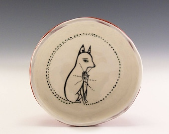 White Dog Getting A Chest Pat - Original Painting by Jenny Mendes in a Hand Pinched Ceramic Finger Bowl