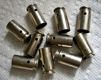 Bullet shell casing pendants, Lot of 10 Nickel Silver brass .40 caliber Bullet Shell Casings, Pre-drilled for your jewelry needs.....Lot 57