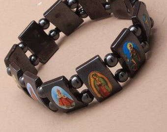 Hematite Stone All Saint Religious Icons Bracelet
