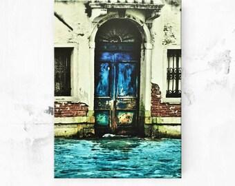 """Old Blue Door Art - Door Photo on Canvas Art - Venice Italy Photo - Italian Photo - Italian Art - Blue Wall Art - Rustic Door Print - 8""""x12"""""""