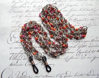 Eye Glass Chain - Eye Glass Holder - Lightweight Spiral Chainmaille Eye Glass Holder with Glass Beads