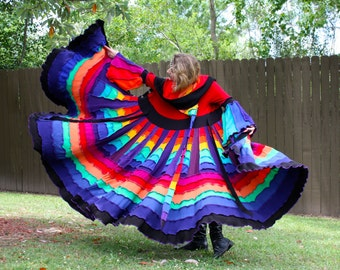 Upcycled Rainbow Sweater Coat with a Medieval Liripipe Hood by SnugglePants- Extra Long- Cascade Waterfall- Custom