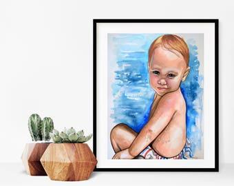 Custom 11x14 Childrens Water color portraits