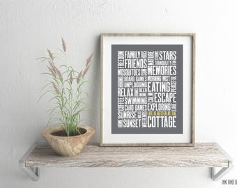 Cottage Print, Cottage Decor, Cottage Art, 8x10, Cottage Typography Print, Cottage Word Art, Cottage Style, Modern Cottage