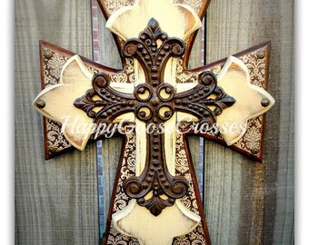 Wall Cross - Wood Cross - Small - Aged Brown Damask, Antiqued Beige, with Iron Cross