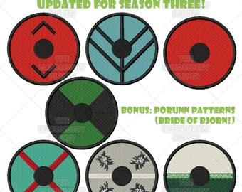 Vikings Shield Bundle Machine Embroidery Pattern Design Newly Updated for Season Three