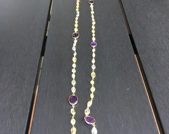 Long necklace with amethyst and Citrine quartz