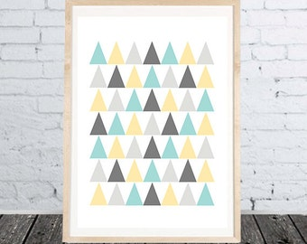 Triangles Print Digital Wall Art Poster