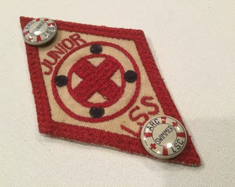 Vintage red cross life saving service patch pins Junior LSS  lifeguard