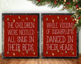 Christmas printable wall art, Twas the Night Before Christmas, holiday decor decoration digital typography print INSTANT DOWNLOAD