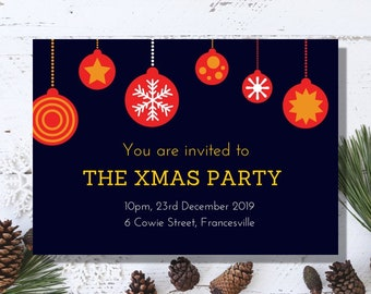 Xmas Party Ornament Christmas Party Invitation - Printable