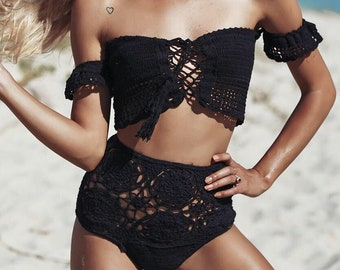 Off the Shoulder Crochet Bikini - Swimsuit / Crochet Top / Crochet Bikini Bottom / Festival Wear / Beachwear / Bikini / Crochet Suit /
