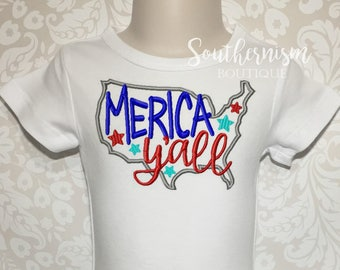 Kids July 4th shirt, 4th of July, Merica Yall, fireworks and freedom, Patriotic, boutique shirt, personalized, monogram