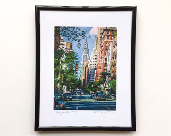 Chrysler Building framed Art. 8x10 black metallic frame, NYC painting NY Cityscape. Iconic. Ready to Hang Wall Art Decor by Gwen Meyerson