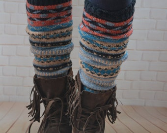 Bohemia socks,Christmas legwear,Bohemia leg  warmers  ,Knit  womens  leg warmers ,chunky   leg warmer ,wool  boot cuffs ,winter accessories,