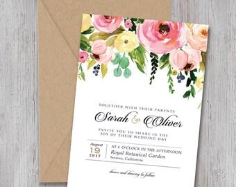 Wedding Invite Set, Bohemian Floral Wedding Invitations, BLUSH pastels,Rustic Invite, Printable Wedding Invitation, watercolor,Lizbeth