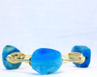 Turquoise Blue Agate Wire Wrapped Bangle Bracelet Stacking Bracelet Gold Wire Wrap Bracelet