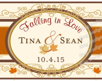 Fall wedding Water Bottle Labels - Fall Water Bottle Labels - 50 Labels