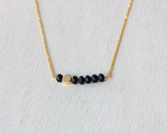 Black and gold bar necklace, black beads pendant, gift necklace
