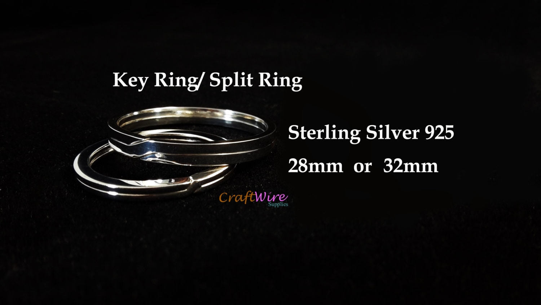 925 Sterling Silber Flachdraht 28 oder 32 mm Schlüsselring