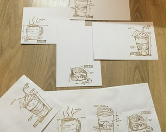 Coffee note cards set