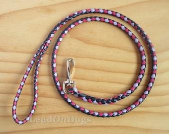 Dog Leash Braided in Navy, Lavender & Pink Kangaroo Leather - LeadOn Toby