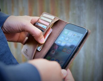 Handmade iPhone 7 PLUS and 8 PLUS Case Genuine Rustic Nubuck Real Leather Dark Brown by Ebb Flow