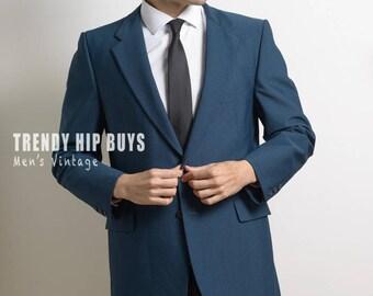 Men's 70s jacket, Teal Blazer, Men's jacket,Men's Blazer,Vintage Blazer, Men's Vintage Jacket, Vintage Blue jacket,Men's Formal Jacket - S/M