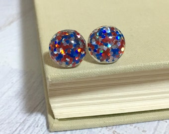 Fun Sparkling Glitter Resin 4th of July Patriotic Independence Day Holiday Stud Earrings with Surgical Steel Posts Red White and Blue (SE15)
