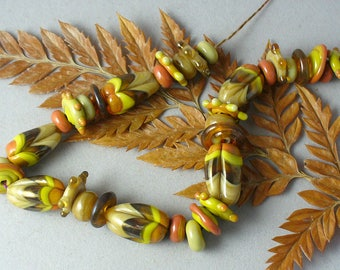 Lampwork beads/SRA lampwork/beads/fall/autumn/hot air balloon/green/terracotta/ivory/amber