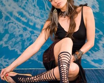 black gladiator sandals , Strappy sandals ,  steampunk , Tribal sandals , made from Swimwear lycra , vegan sandals , Festival gear