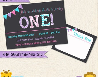 Pink Purple and Turquoise Personalized Invitation Thank You Cards/ Printed or Digital Invitation Thank You/ Girl or Woman Birthday / D001A