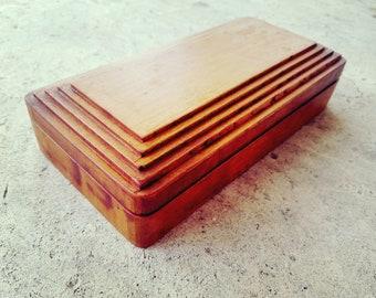Small Wood Artist Box Supply Pencil Vintage Traveling Wooden Art Box Stash Box Trinket Stepped Detail on Lid