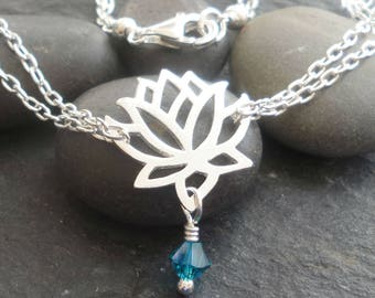 Sterling Silver Lotus flower bracelet solid silver Lotus bracelet , with swarovski elements birthstone choice , buddhist silver bracelet