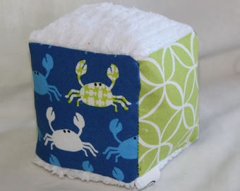 Small Don't Be Crabby Chenille Fabric Block Rattle Toy
