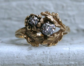 Vintage Leafy 14K Yellow Gold Wedding Ring Engagement Ring - 0.65ct.