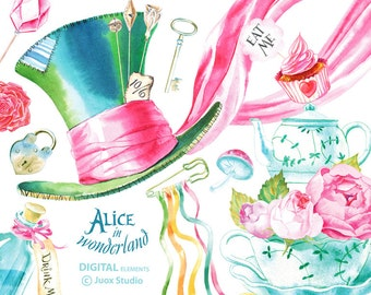 Alice in Wonderland Watercolor Clipart Digital Rose Bouquet Elements Boho Pink Wedding invitation Greetings Diy elements