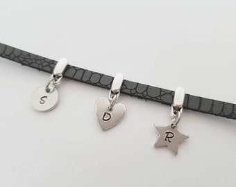 Initials & Shapes Bracelet, Faux Leather Grey Bracelet, Family Initial Bracelet, Birthday Gift, Birthday Charm Bracelet,