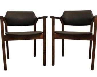 Pair of Mid-Century Danish Modern Walnut Open Arm Lounge Chairs