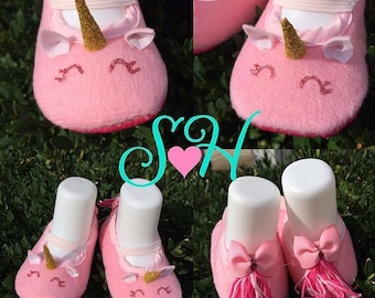Pink Unicorn Baby Crib Shoes (Unique Baby Gift)
