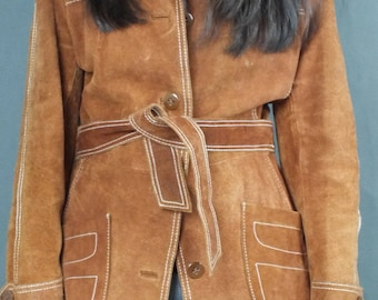 Vintage 70s Rust Brown Suede Leather Used Worn Distressed with Belt Jacket Coat Boho Hippie S